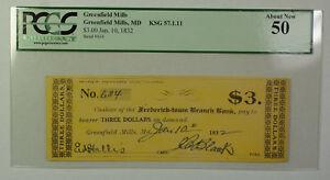 Jan 10 1832 $3 Obsolete Currency Greenfield Mills MD PCGS 50 KSG 57.1.11