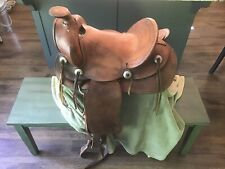 "SIMCO SUPREME Western Saddle 14"" Vintage Tooled Leather Ranching Western Cowboy"