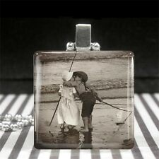 Custom Necklace Personalized Picture Art Glass Tile Pendant Silver Jewelry Gift