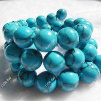 4mm 6mm 8mm 10mm 12mm 14mm Turkey Blue Turquoise Round Gemstone Loose Beads 15''