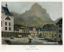 Schwyz Teilansicht Stahlstich von Huber nach Geisser bei Rüdisühli ca. 1865