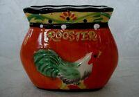 Vintage Orange Hand Painted Rooster/Chicken Ceramic Napkin/Letter Holder