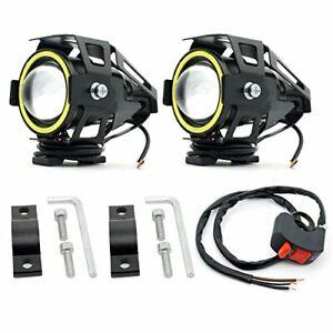 Biqing Motorcycle Headlights LED Spotlights Fog Lights with White Angel Eye Ring