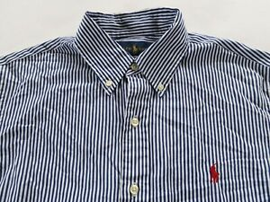 Polo Ralph Lauren Mens Custom Fit LS Button Up Navy White Striped Dress Shirt S