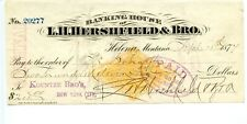 1877. Helena,Montana Revenue Territory Bank Check.