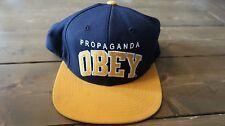 Obey Propaganda Hat Navy Blue and Yellow Snapback