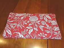 Contemporary Long Table Runner 70 inches long Muted Red and White
