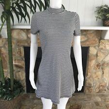 After Party Nasty Gal Black White Ribbed Striped Short Sleeve Turtleneck Dress M