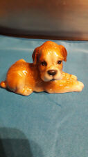 Boxer Dog Puppy Ceramic Figurine  Laying Down Vintage Brown Tan from 1980's Cute