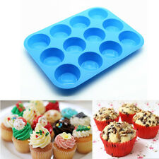12 Cup Silicone Muffin Cupcake Baking Pan Mould Bakeware Round Cake Mould Tool