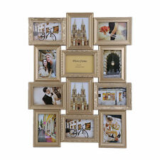 Vintage Gold Multi Aperture Photo Picture Frame - Holds 12 X 6''X4'' Photos NE