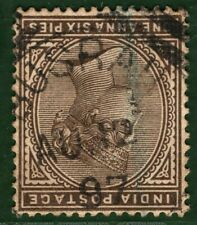 INDIA USED ABROAD *Busrah* IRAQ Squared Circle 1897 QV 1a6p Stamp BASRA BLACK445