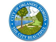 4x4 inch ROUND City of ORLANDO Florida Seal Sticker -decal bumper beautiful logo