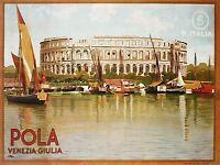 TRAVEL PULA AMPHITHEATRE CROATIA VENICE ITALY VINTAGE ADVERT POSTER 2478PYLV
