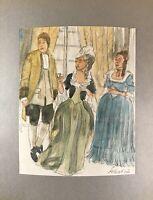 Georg Schott *1906 Portrait Damen und Herr Kleidern Interieur Schloss Aquarell