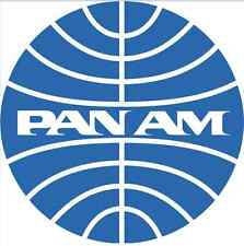 STICKER PAN AM AMERICAN ROUND 9,5 CM BLUE WHITE AIRLINE BUTTON WEATHER RESISTANT