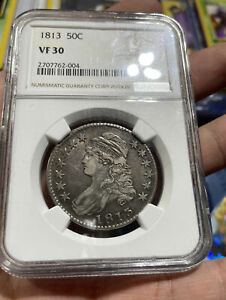 1813 Capped Bust Half Dollar VF 30 NGC Nice Original Coin SW
