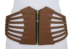 Hot Women Hip Waist Wide Brown Fashion Cinch Fabric Corset Stripes Belt Size M L