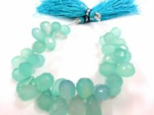 """114Cts AAA Natural Aqua Chalcedony Teardrop Faceted 6x9-7x11mm, 5"""" Strand Beads"""