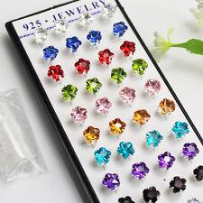 Wholesale Lot 40pcs Women Girls 925 Silver 6mm Plum Flower Crystal Stud Earrings