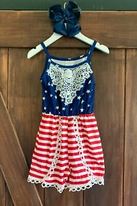 Girls 4th of July Outfit Romper Milk Silk NWT FREE Bow, All Sizes