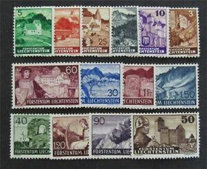 nystamps Liechtenstein Stamp # 136-150 Mint OG H $33   L30y798