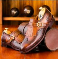 Men's Handmade Tan, Brown & brown Leather Fringe Single Monk Buckle Men Shoe