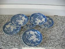 6 COUPELLES Porcelaine Japonaise FLEURS TONS  BLEUS 9 cm