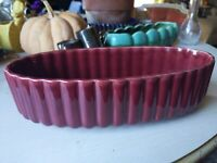 Vintage Mid Century Haeger USA Art Pottery #122 Oval Planter Red Marroon Ribbed