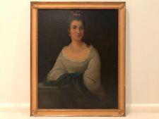 19th Century Antique Portrait Lady Noble Woman Oil Painting Framed E