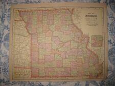 FINE ANTIQUE 1892 MISSOURI IOWA MAP RAILROAD ST LOUIS DAVENPORT DETAILED RARE NR