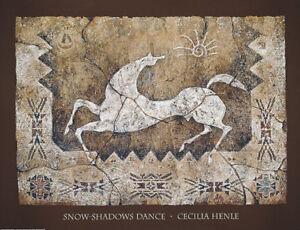SnowShadows Dance- Art Print by Cecilia Henle - White Horse Pony Spirit