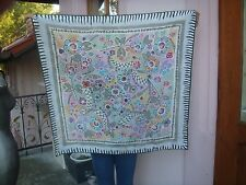 "Vintage  Perry Ellis silk scarf  flowers pastel colors Picasso looks 35"" sq EXC"
