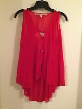 351234cf465 Chelsea   Violet Red High Low Pleated Accordion Top S Small