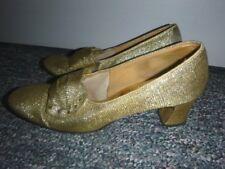 Vintage 1960's Gold Lame` Metallic Shoes 7M Mod