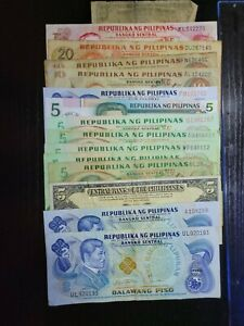 🇵🇭 Philippines assortment of 14 old Banknotes 101621-22