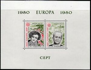 SLANIA ENGRAVED MONACO EUROPA 1980 SOUVENIR SHEET OF 2 MARCEL PAGNOL MNH
