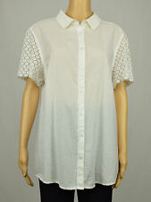 Tommy Hilfiger Womens White Sheer Eyelet Sleeve Button Down Shirt Top XL