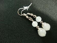 Vintage Art Deco Style White Jade Not So Long Earrings Prom Bridal Boho
