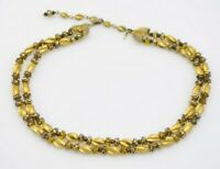 Crown Trifari Gold Metal Glass Bead Beaded Choker Necklace Vintage
