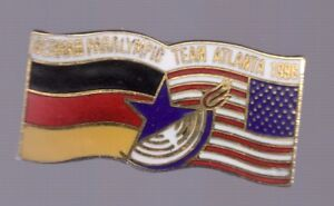1996 Atlanta German Paralympic Team Pin NOC Olympic Flag US Germany