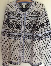 LL Bean Women's Fair Isle100% Lambswool Cardigan Sweater L Pewter-look Buttons