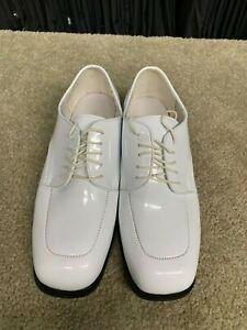 WHITE MENS TUXEDO dress shoe faux patent leather square toe oxford - NUVO STYLE
