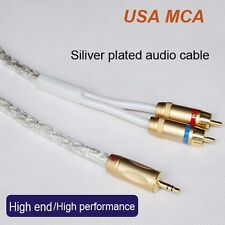 50FT Original MCA Silver Plated Stereo 3.5mm Male to 2RCA Male Audio Cable,Hi-Fi