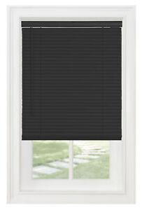 "Cordless Window Blinds Mini Blinds 1"" Black White Alabaster Wood Vinyl Blind"