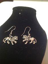 lion hook earrings silver plated