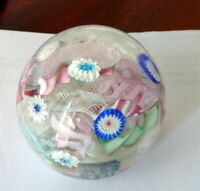 Fratelli Toso Murano Art Glass Scramble Millefiori Latticino Paperweight Labels