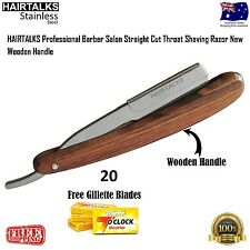 Professional Barber Salon Straight Cut Throat Shaving Razor NEW, Wooden Handle