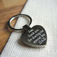 Personalised Metal Silver Heart Keyring Keychain FREE TEXT ENGRAVED