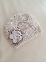 NEW Newborn Baby Girl Crochet Knit Cotton Flower Beanie  **ivory**